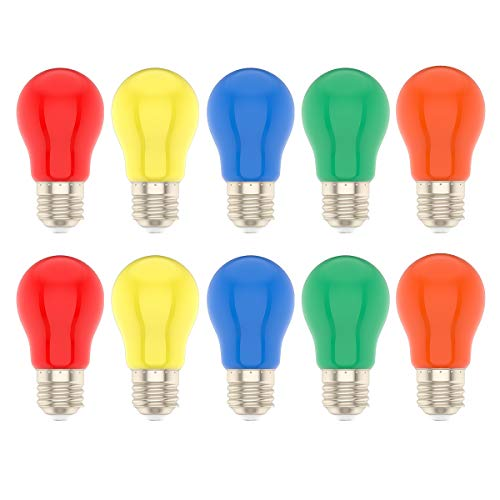 Preisvergleich Produktbild 10 Stück 1.5 Watt LED Farbige Glühbirne E27 Mehrfarbige Glühlampe für Hochzeit Halloween Weihnachten Party Bar