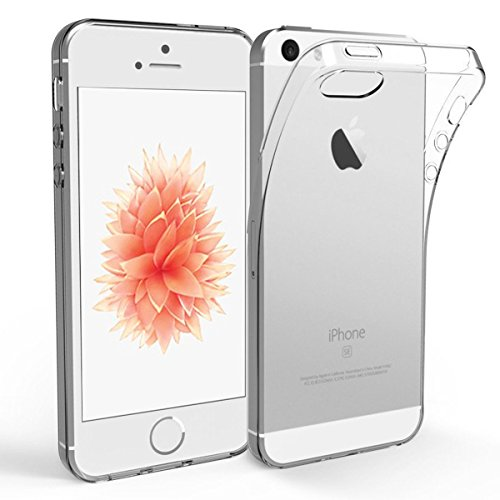 NEW'C Cover Compatibile con iPhone 5 e iPhone 5S e iPhone SE 2016, Custodia Gel Trasparente Morbida Silicone Sottile TPU [Ultra Leggera e Chiaro]