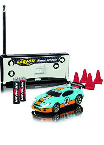 Carson 1:60 Nano Racer Classic Boss 100% RTR, Ferngesteuertes Auto, RC Fahrzeug, inkl. Batterien und Fernsteuerung, Fahrzeit 8 min, 500404110, hellblau