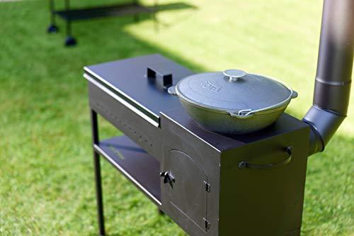 DM Grill GR008 Black Steel Mangal 3 mm Thickness BBQ Heater Outdoor Chimney