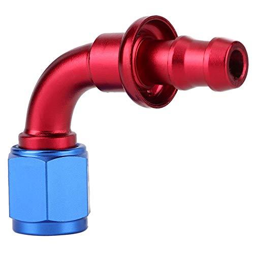 Olieslangfitting, Akozon AN6 Recht 45 90 180 graden Druk op twist-lock Olie Gas Brandstofleiding Slanguiteinde Mannelijke fitting voor stookolie Koelvloeistof en lucht(90°)