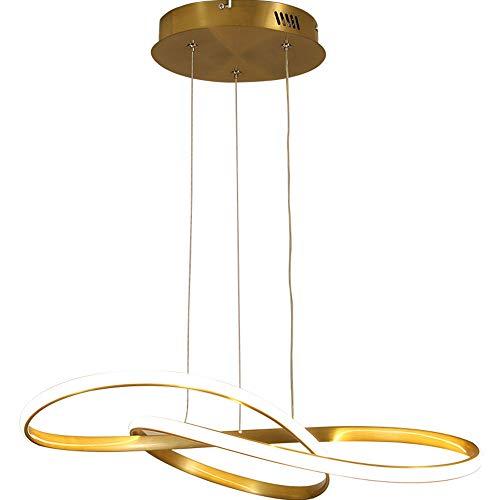QGK Moderna LED Iluminación Colgante Regulable Dorado Comedor Lámpara Colgante Anillo Metal Colgante De Luz Diseño De Curva Creativa Altura Ajustable Colgante Luces con Mando A Distancia,60cm/44w