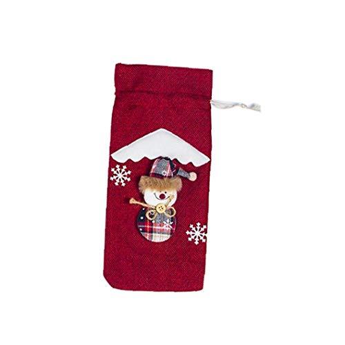 hong Wu Weihnachten Rotwein Champagne-Flaschen-Beutel Ferien Champagne Leinentasche Tasche (rot)