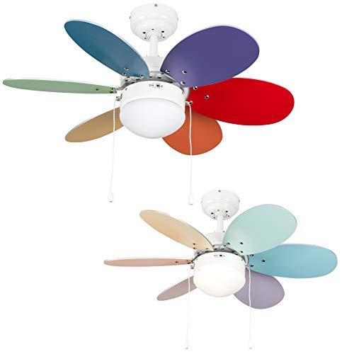 MiniSun – Deckenventilator mit Leuchte und sechs mehrfarbigen Flügeln, 76 cm – Deckenventilator Kinder mit Beleuchtung – Deckenventilator Kinderzimmer, Weiß/bunt, 6 Flügel, 3 Geschwindigkeitsstufen [Energieklasse A++]