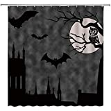 wobuzhidaoshamingzi Halloween-Duschvorhang Fledermäuse Burg Eule auf AST unter dem Vollmond Silhouette Badezimmer Dekorationen