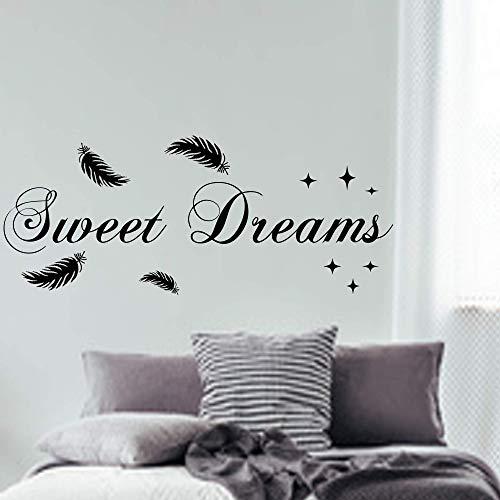 WANDTATTOO SWEET DREAMS Spruch mit Federn AC03 Wandaufkleber Wandschnörkel ® Wanddekoration Schlafzimmer Farbe./Größenauswahl