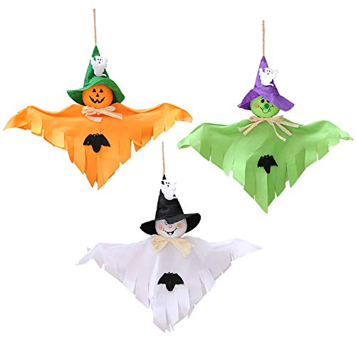 3 Pack - Halloween Party Decoration Hanging Ghost Windsock , Spook Pumpkin Fly Witch Scarecrow Doll for Front Yard Patio Lawn Garden Party Decor and Holiday Decorations Themed (White/orange/green)
