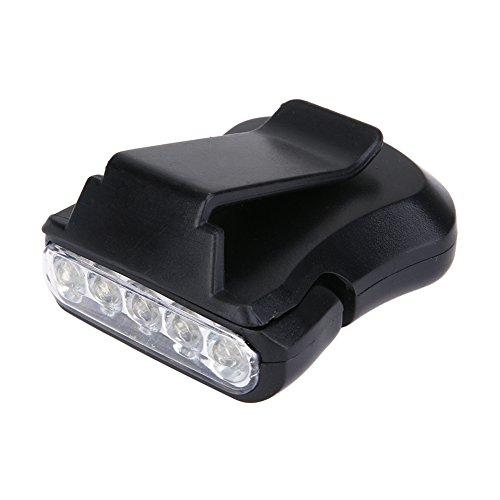 Broadroot 5LED Clip Cap Light Acampar al Aire Libre Senderismo Pesca Luz de Cabeza (Negro)