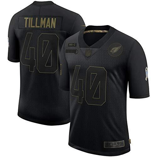 WOCTP American Football Fan Jersey # 40 Cardinals Pat Tillman, Trainings Rugby Jersey Sports Top Short Sleeve Sweatshirts Männer Erwachsene Junge Studenten Black-L(180~185CM)