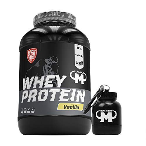 3kg Mammut Whey Protein Eiweißshake - Set inkl. Protein Shaker oder Powderbank (Vanilla, Gratis Mammut Powderbank)