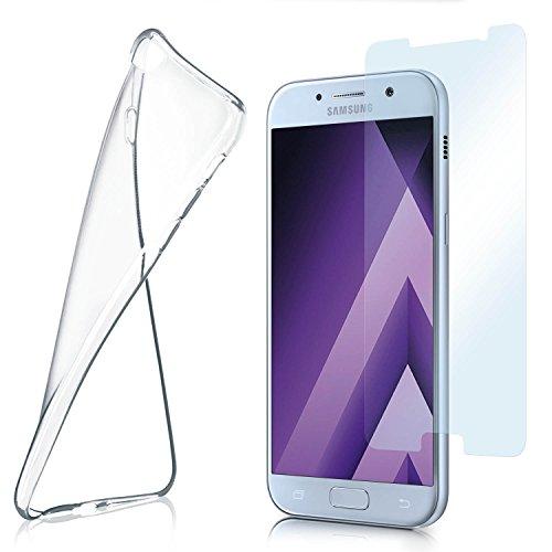 MoEx Funda de Silicona Compatible con Samsung Galaxy A5 (2017) [360 Grados] Protector de Pantalla de Cristal con Tapa Trasera Transparente para teléfonos móviles Compatible con Samsung Galaxy-A5 2017