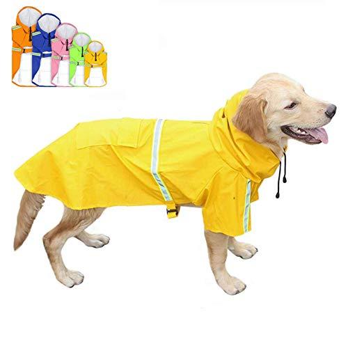 FEimaX Hunderegenmantel Wasserdicht Hunde Regenjacke mit Reflektierenden Streifen Verstellbarer Regenmantel mit Kapuze und Kragenloch für Kleine Mittelgroße und Große Hunde