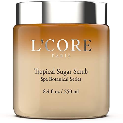 L'Core Paris Tropical Sugar Body Exfoliating Scrub with Anti-Aging Antioxidants & Aloe Vera - Naturally Hydrating Exfoliant - Deep Exfoliator for All Skin Types - 8.4 fl oz/ 250ml