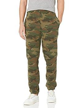Amazon Essentials Men s Closed Bottom Fleece Sweatpants Green Camo Large