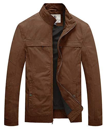 WenVen Men's Stand Collar Cotton Military Jacket,Coffee, XXX-Large
