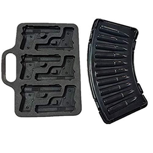 Combo 2moldes, 1x bala de AK47+ 1x Pistola Pistola Cubito de hielo...
