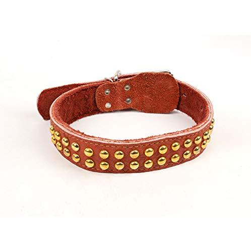 Egurs halsband voor honden, hondenhalsband van zacht leer geschikt voor middelgrote/grote honden