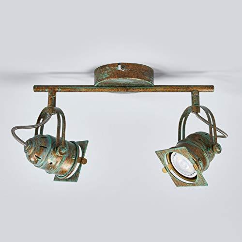 Lindby LED Deckenleuchte 'Janek' (Retro, Vintage, Antik) in Bronze aus Metall u.a. für Wohnzimmer & Esszimmer (2 flammig, GU10, A+, inkl. Leuchtmittel) - Lampe, LED-Deckenlampe, Deckenlampe