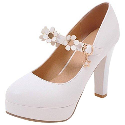 RAZAMAZA Mujer Moda Tacón Ancho Bombas Zapatos