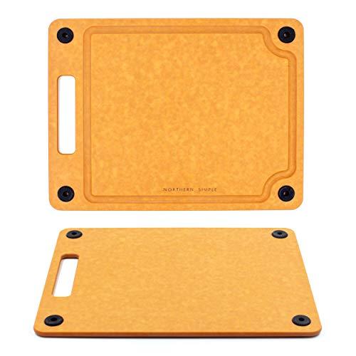 Northern Simple kompaktes Premium Schneidebrett 23,5 x 30cm | rutschfest, spülmaschinenfest, Tranchierbrett mit Saftrille, antibakteriell, beidseitig verwendbar, nachhaltig, Holzfaser