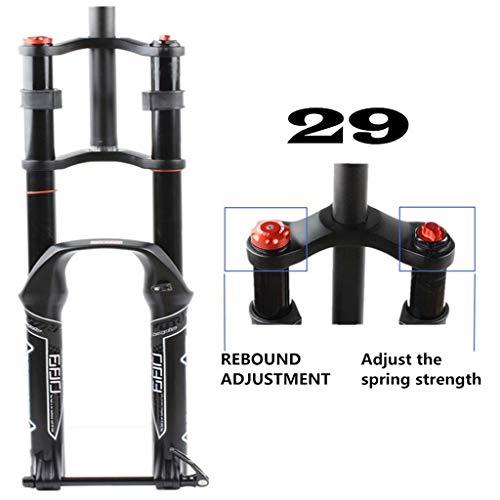 Zatnec Mountain Bike Suspension Fork,Oil Spring Barrel Shaft Lightweight Magnesium Alloy MTB Bike Gas Fork Shoulder (Size : 29 inch)