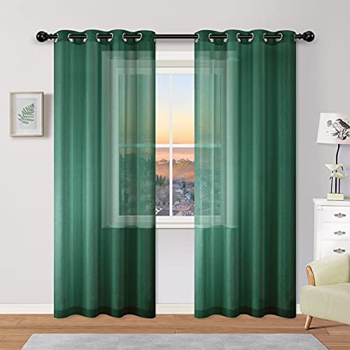 Hunter Green Curtains 84 Inch Length for Living Room 2 Panels Grommet Window Semi Voile Drapes Forest Theme Sheer Curtains for Bedroom Girls Room Decoration Decor 52x84 Inches Long