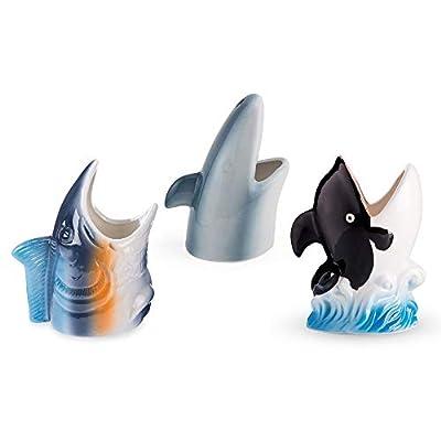 Under The Sea Aquatic Ceramic Tiki Mugs - Set of 3 (Shark, Whale, Tropical Fish)