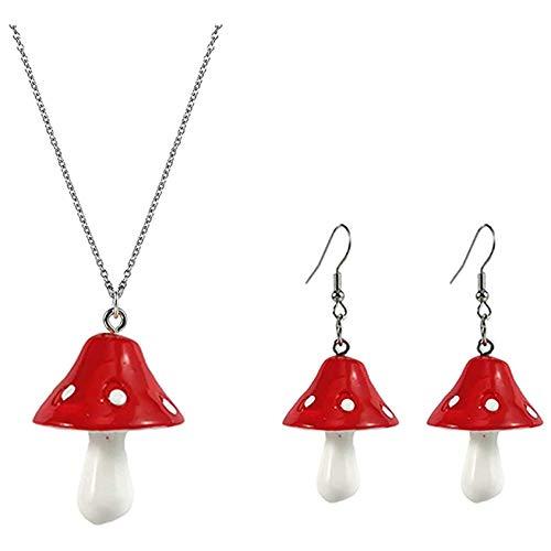 ZYYXB Juego de collar y pendientes colgantes de hongos para mujer, cadena de joyería para niñas, joyería de color vegetal, collar con colgante de champiñón, rojo