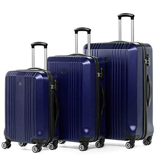 FERGÉ Juego 3 Maletas rígidas Cannes Equipaje de Viaje Dura Trolley Set con 4 Ruedas giratorias Azul