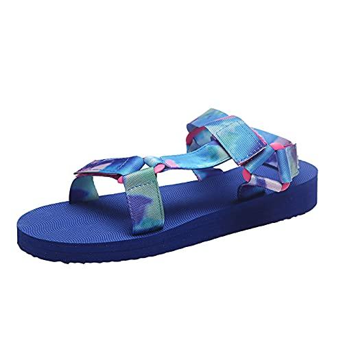 HEling Flats - Sandalias de encaje para mujer con estampado de leopardo, con plataforma y cierre de velcro y correa ajustable, diseño bohemio, azul, 38 EU