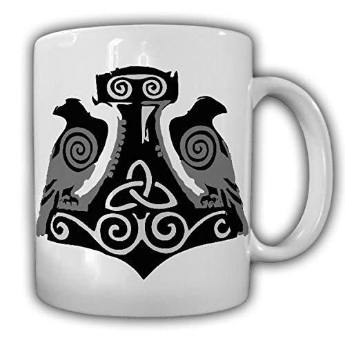 Wikinger Raben Hugin und Munin Thors Hammer Odin Runen Rabe - Tasse #18153