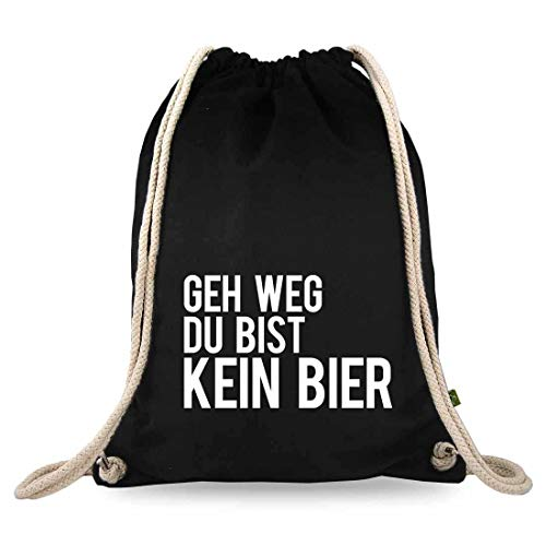 Gymtaselliebe® gymtas met spreuk, verschillende designs, bedrukt, katoen, zwart, sporttas, rugzak, ca. 12 liter – 37 x 46 cm.