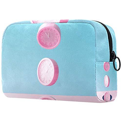Neceser portátil para maquillaje, diseño de relojes de pared, color rosa pastel sobre fondo azul, bolsa de cosméticos impresa, bolsa de cosméticos para mujeres