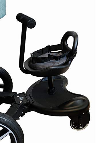 Tabla con carrito y asiento universal apto para cochecito y silla de paseo. Carrito con asiento Elternstolz, se puede utilizar con y sin asiento. Se puede fijar al lateral y en la parte inferior del cochecito. capacidad de carga de hasta 20 kg y rued...
