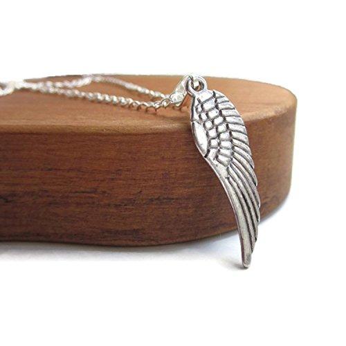 Collar de plata de las alas del ángel, collar de plata del mens de la cadena, collar de plata unisex