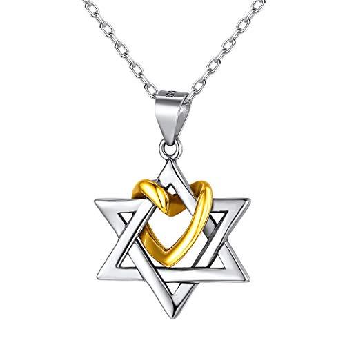 ChicSilver Corazón Hexagrama Collar Plata de Ley 925 Cobre Dos Tonos Colgante Pequeño Estrella de David Joyería Judía Culturismo