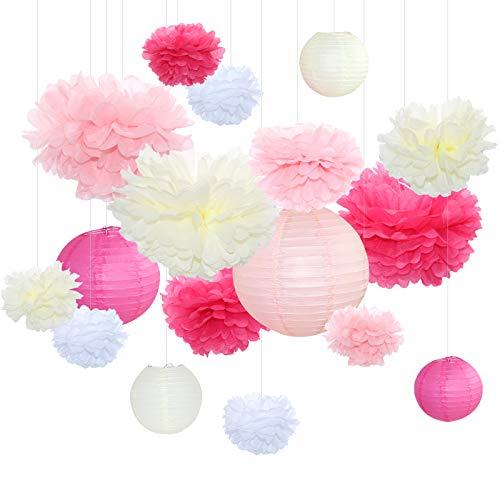 Himeland 17er Set Seidenpapier Pompoms, Papier Lampions Girlande Dekoration Deko für Geburtstage Partys Hochzeiten Baby-Duschen Feste (Rosa Weiß beige)