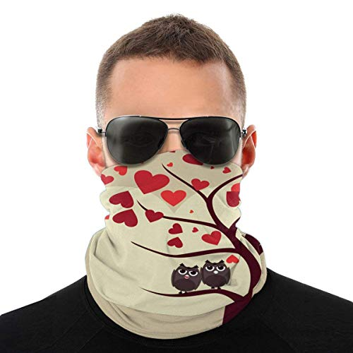 N/W Tree Owl Valentine'S Day Men Women's Face Bandana Ear Rings Washable Reusable Cloth Neck Bib Scarf 1 Pice black