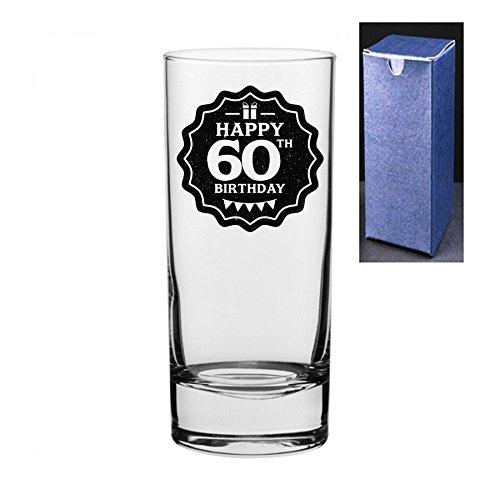 fantaisie gravé/imprimé Cocktail Highball Gin et Tonic Vodka Verre – Joyeux anniversaire 60 ans Do Not Engrave A Message On The Reverse Side Noir