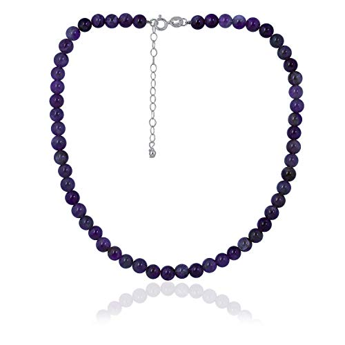 Sea of Ice Amethyst 6mm Round Beads Necklace 14' Plus 2' Extender with Sterling Silver Spring Ring Clasp