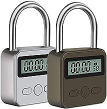 Metalen tijd hangslot - 99 uur maximale timing met LCD-scherm Micro USB oplaadbaar - zilver (bruin)