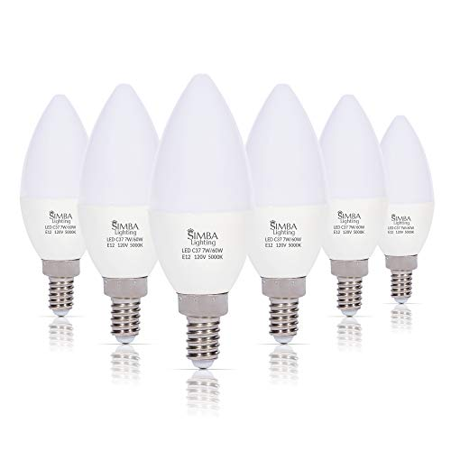 Simba Lighting LED Candelabra Light Bulbs B11 (C37) Candle Shape E12 Base (6 Pack) | Decorative 7W 60W Replacement 110V, 120V for Chandelier, Ceiling Fan, PC Cover, Non-Dimmable, Daylight 5000K