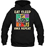 STvog Interesting Hoodie Men's EAT Sleep BMX Repeat Dirt Bike Biker Custom Hoodies Black