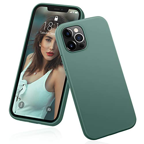 "DTTO Compatible with iPhone 12/12 Pro Case,Shockproof Silicone [Romance Series] Cover [Enhanced Camera and Screen Protection] with Honeycomb Grid Cushion for iPhone 12 6.1"" 2020,Midnight Green"