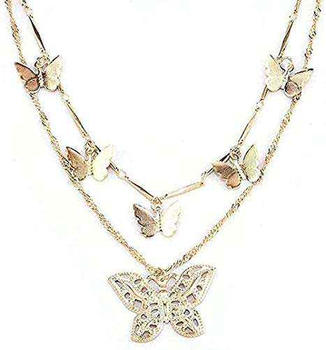 ZPPYMXGZ Co.,ltd Necklace Fashion B Necklace Women Gold Choker Necklace Gold Charm Necklace Hollow Butterfly Pendant Necklace Multilayer Necklace Gift