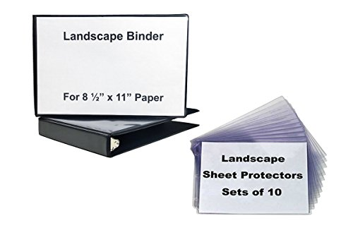 Landscape Binder, 1 Inch Round Ring, Black Vinyl with 1, 10 Set of Sheet Protectors Crystal Clear, Both Horizontal Format