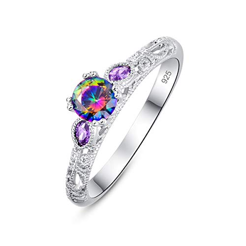 Narica Women's Round & Marquise Cut Plated Sterling Silver Rainbow Topaz Engagement Rings Size 9