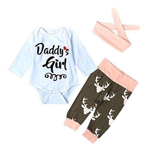 Internet Bébé Filles Enfants Cerf Impression Barboteuse Body + Pantalon + Bandeau vêtements Tenues Ensemble (95(24 Mois), Blanc)