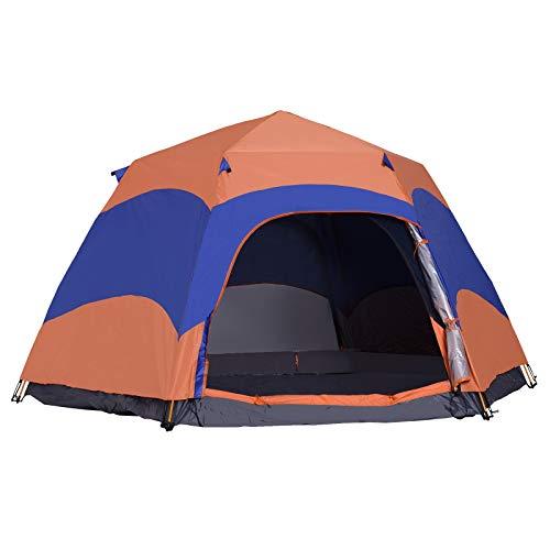 Outsunny Quick-Up-Zelt Doppelwandzelt Outdoor Familienzelt Pop-Up für 5–6 Personen 4 Jahreszeiten wasserdicht mit Tragetasche Moskitonetz 2 Türen Polyester + Glasfaser Orange + Blau 280 x 280 x 170 cm