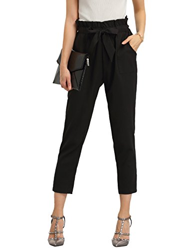 SweatyRocks Women's Elastic Belted High Waist Casual Loose Long Pants with Pocket (Small, Black#)